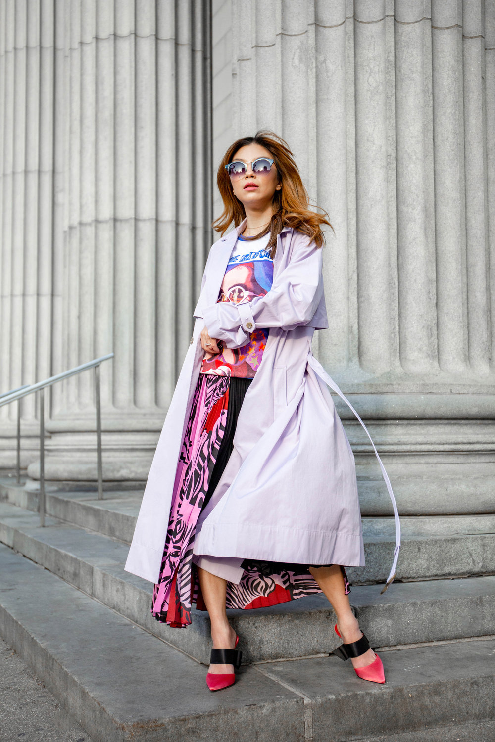 Purple trench coat