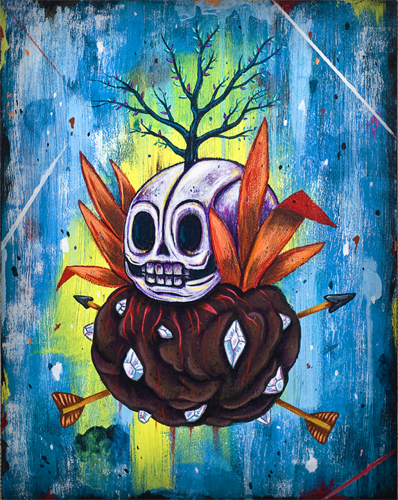 Bush Skull - 2013 Acrylic on wood panel