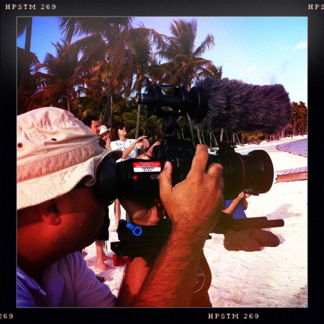 Very at home shooting on the beach.