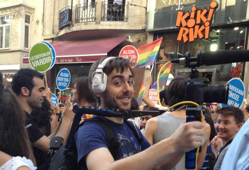 Rick filming at the Gay Pride Parade in Istanbul, Turkey in 2012.