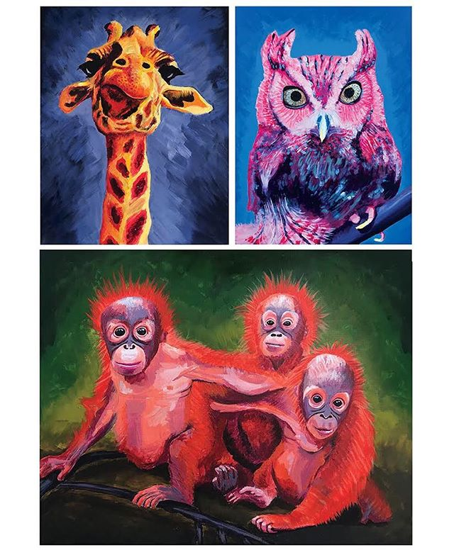 some recent paintings👨🏻‍🎨 👇🏻👇🏻👇🏻👇🏻 prints for sale (Etsy shop link in bio)  #spiritanimals #prints #walldecor #wallart #giraffe #owl #orangutan #acrylicpainting #poster #framedwallart #etsy #etsyshop #etsyseller #printful