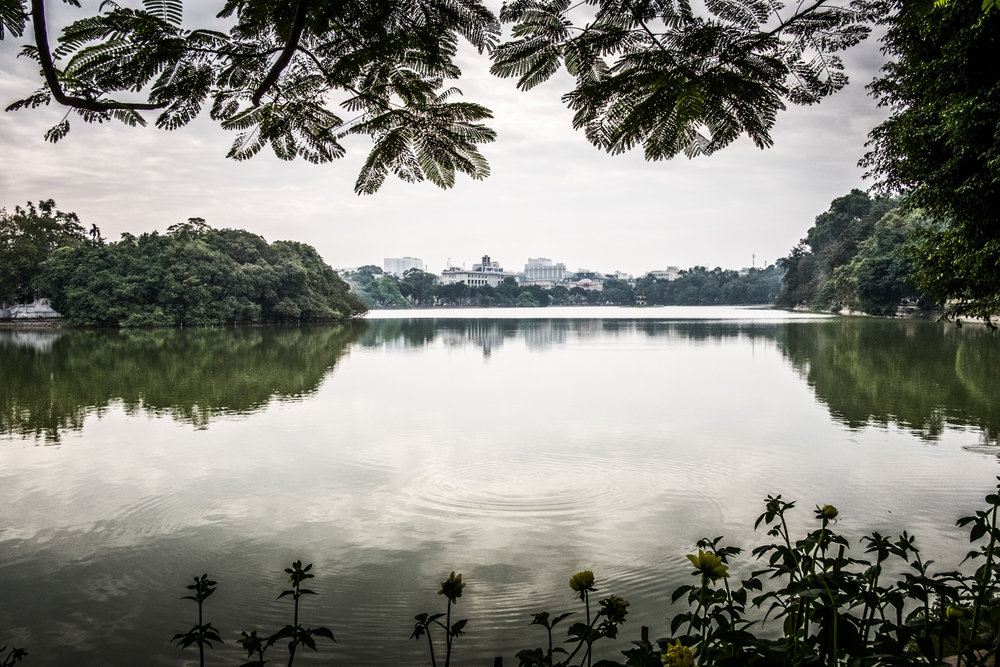 The historical Hoan Kiem  Lake, Hanoi, Vietnam