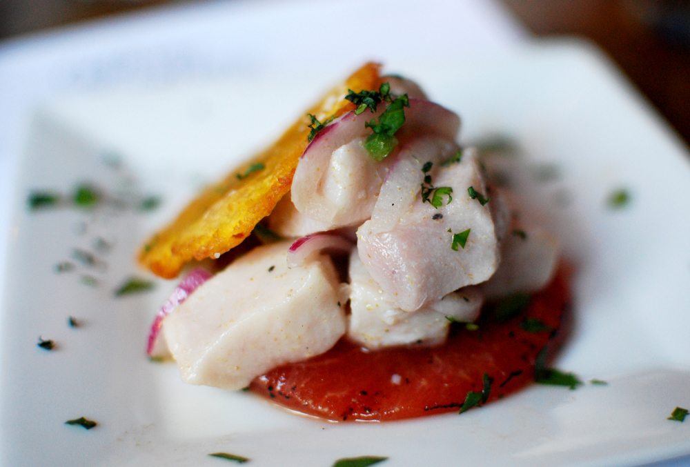 Swordfish ceviche with grilled watermelon and tostones served during a beer dinner at South Kitchen and Bar on Tuesday, July 29, 2014 (André Gallant | @andregallant | andrejgallant@gmail.com).
