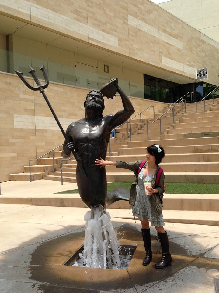 And lest I've frightened you too much, here's Alyssa posing with the UCSD Triton. She's get a weird thing for mer-people — but hey, I don't judge.