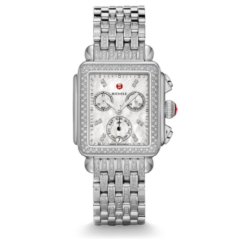 MICHELE Deco Diamond Bracelet Watch. The rectangular case of the Deco Diamond reflects the geometric shapes identified with Art Deco architecture. Diamonds surround the mother-of-pearl dial on this Swiss chronograph . 142 diamonds enhance the stainless-steel bracelet. Retail value $3,595. Fossil generously donated this watch. (2nd place prize)