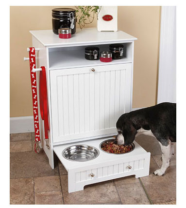 dog food cabinet with bowls
