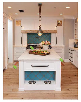 custom kitchen with dog food station