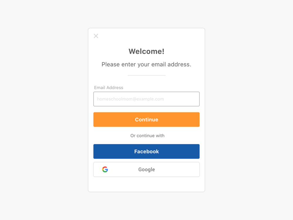 V3 Registration Modal, Styled