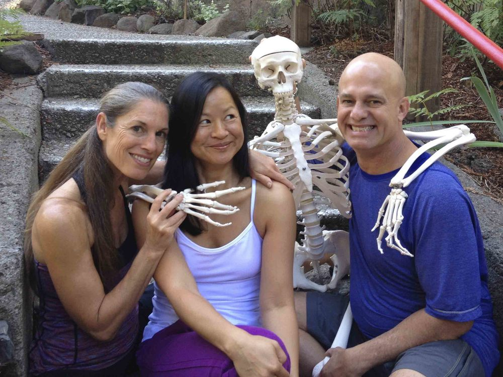 Karin withPaul and Suzee Grilley during herYin Yoga Teacher Training III atthe Land of Medicine Buddha in Soquel, California.