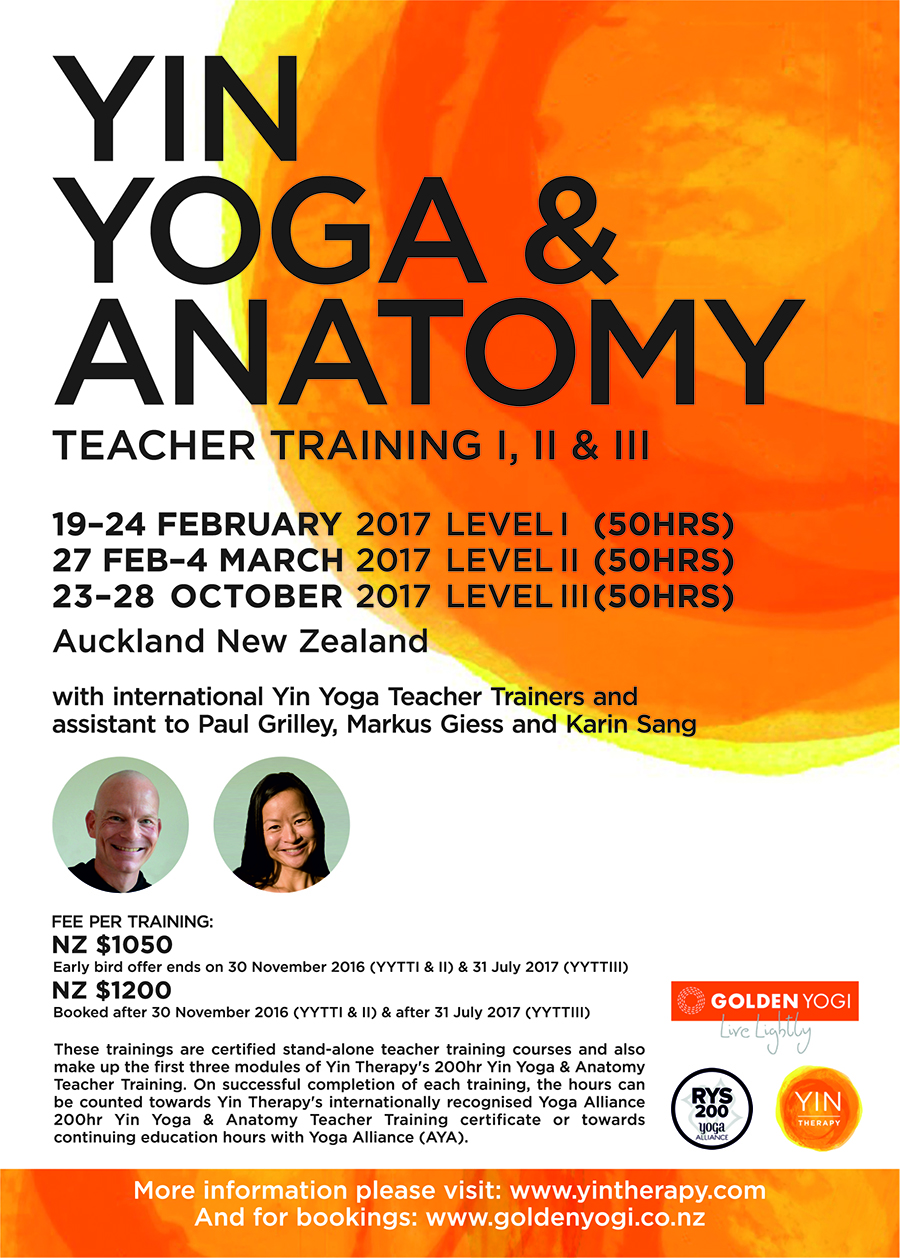2017 Yin Yoga & Anatomy Teacher Training Poster - Auckland, New Zealand