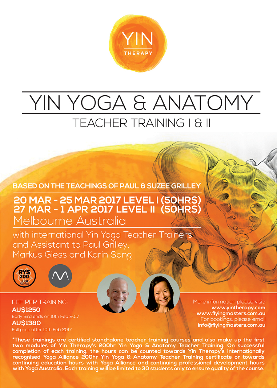 2017 Yin Yoga & Anatomy Teacher Training Poster - Melbourne, Australia