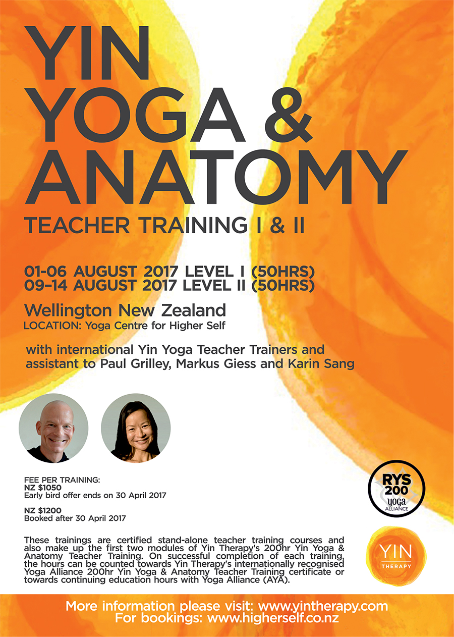 2017 Yin Yoga & Anatomy Teacher Training Poster - Wellington, New Zealand