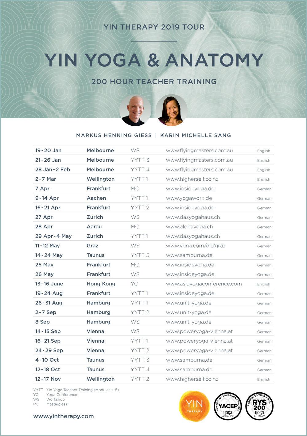 Yin Therapy 2019 Tour Plan