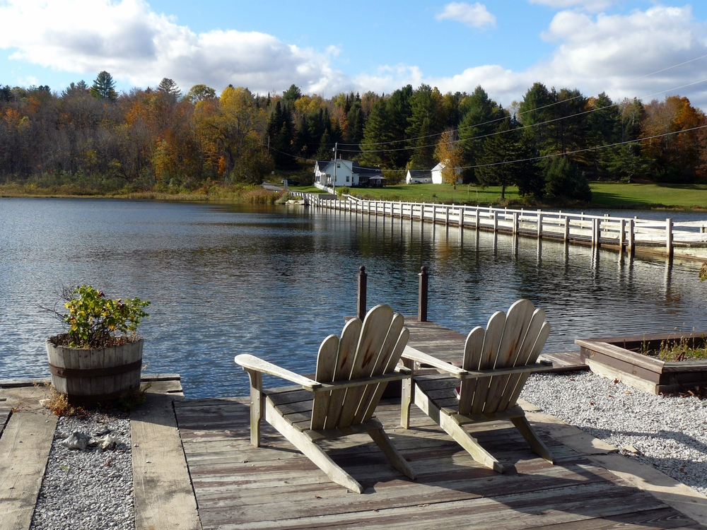 Adirondack Chairs, lake and bridge.JPG