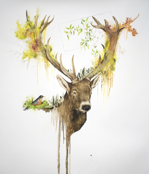 """Season"",  41"" x 29.5"", mixed media on primed paper, 2015"