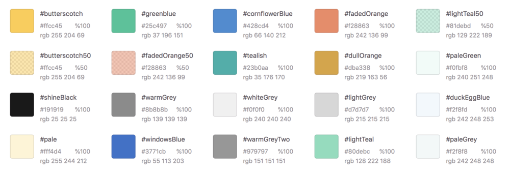 Existing Shine iOS app color palette, October 2018