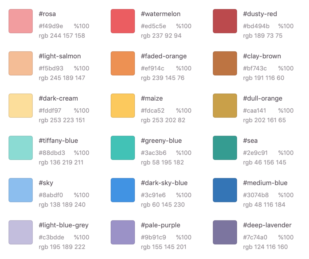 Proposed Shine iOS app color palette