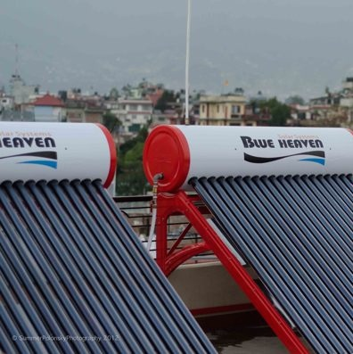 Solar thermal water heaters use the power of the sun to heat water for bathing and hygiene purposes.