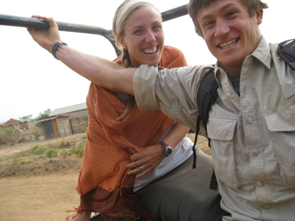 Jake and Suzanne hitching a ride in Kasulu, Tanzania.