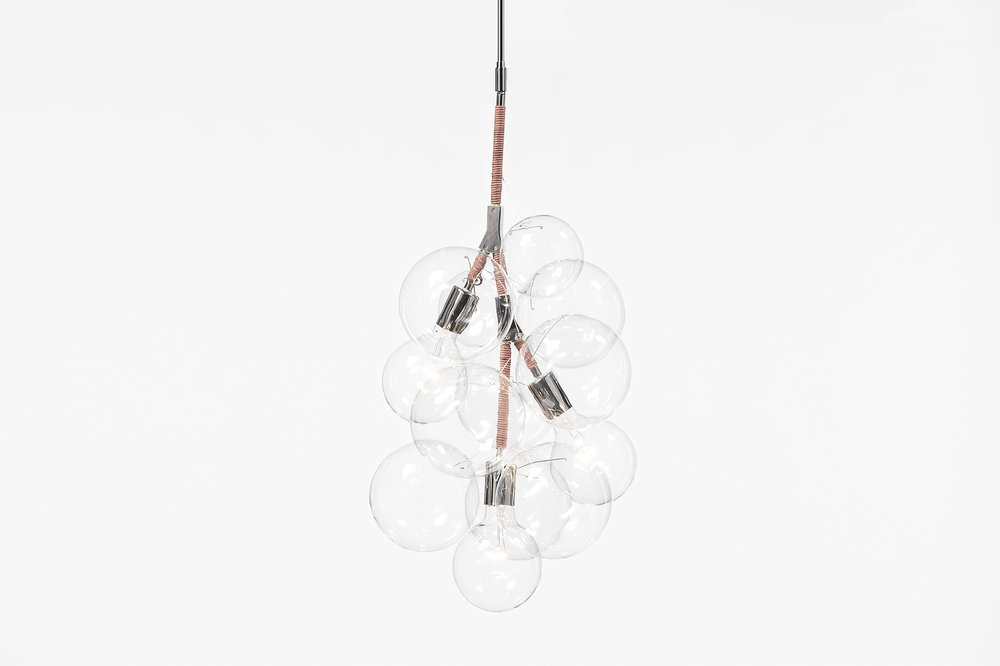 Pelle Pendant Chandelier, Polished Nickel and Natural Leather