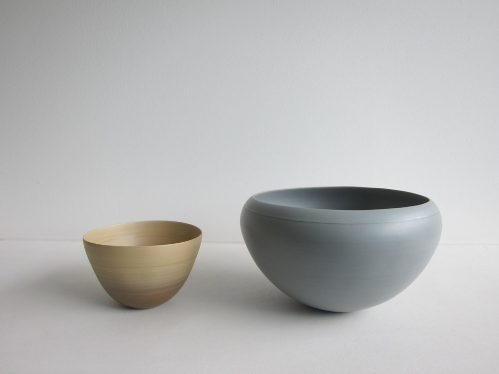 Small Shaded Mustard Bowl and Medium Gray Buttercup Bowl