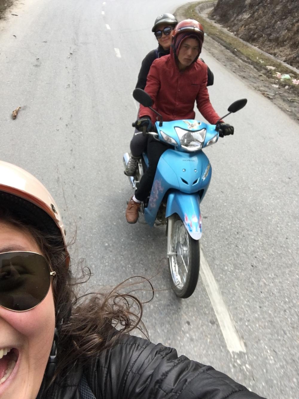 Classic motorbike selfie