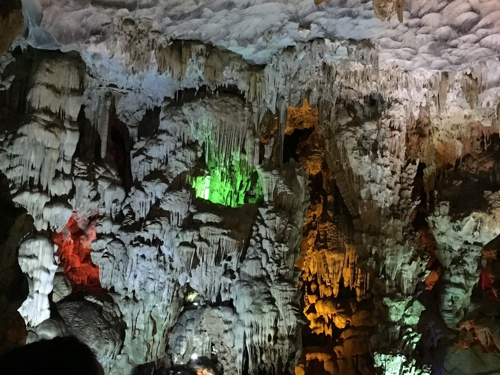 Limestone caves lit up for the tourists