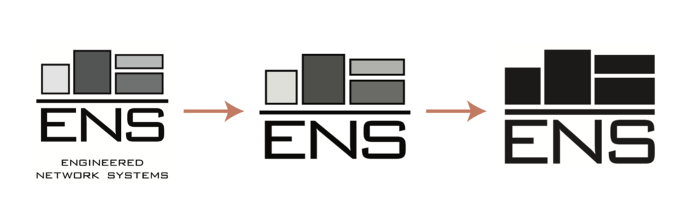 The ENS logo was in a constant state of evolving in trying to keep up with modern brands as well as our competition and partners. The final design on the left is the most modern looking without losing our recognition.