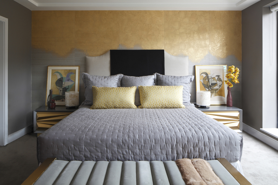 Bedroom with Phillip Jeffries gold metallic wallcovering and Picasso artwork | Knightsbridge London | Savage Interior Design