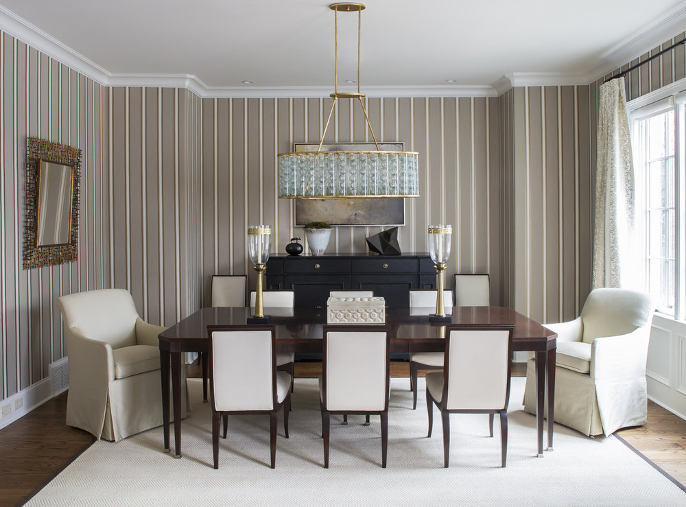 Elegant dining room; Dedar wallcovering; Hickory Chair; Alexa Hampton chairs; Currey and Company chandelier | Savage Interior Design