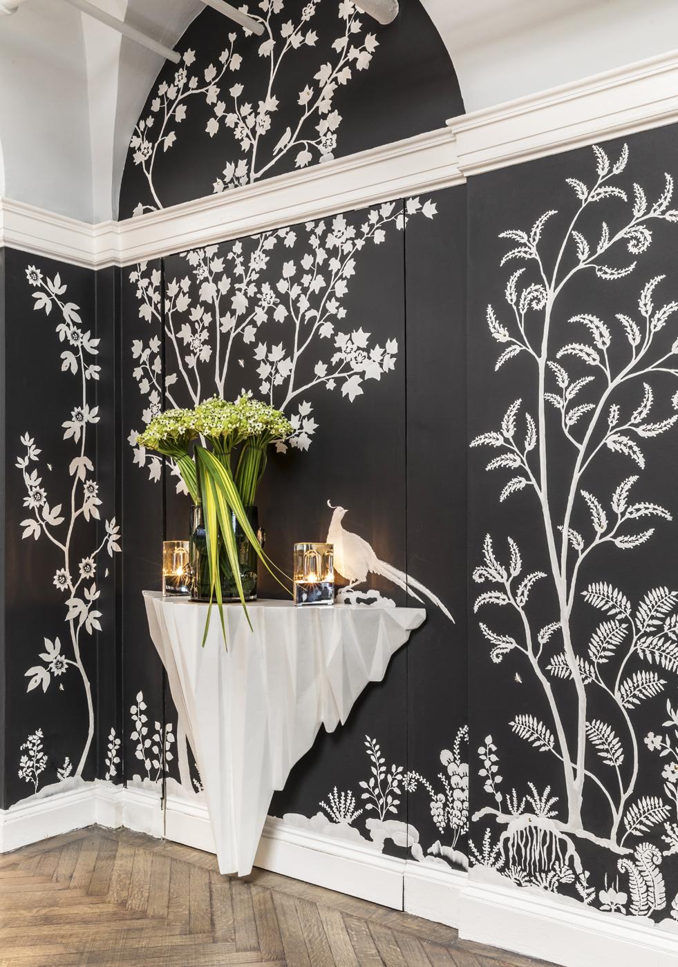 Plaster console table by artist Stephen Antonson set against modern chinoiserie custom MJ Atelier wallcovering | Savage Interior Design