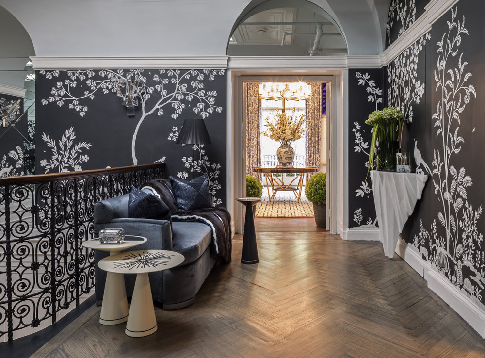 Staircase landing showing modern chinoiserie custom MJ Atelier wallcovering with Tennessee flora and fauna | Savage Interior Design