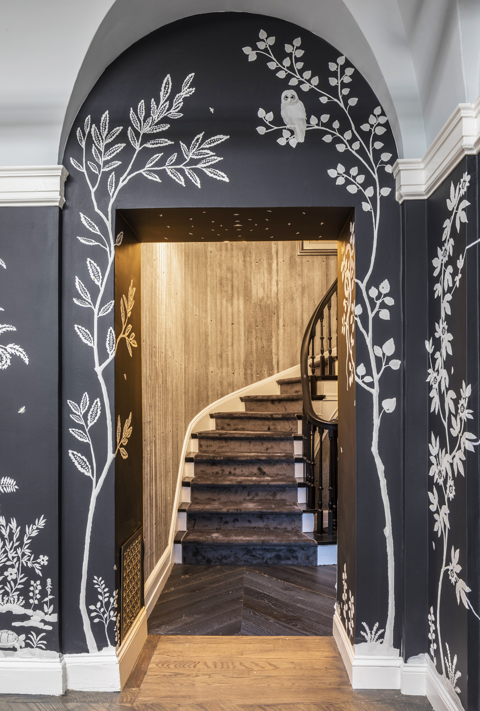 Custom MJ Atelier wallcovering with Tennessee flora and fauna showing owl in landscape | Savage Interior Design