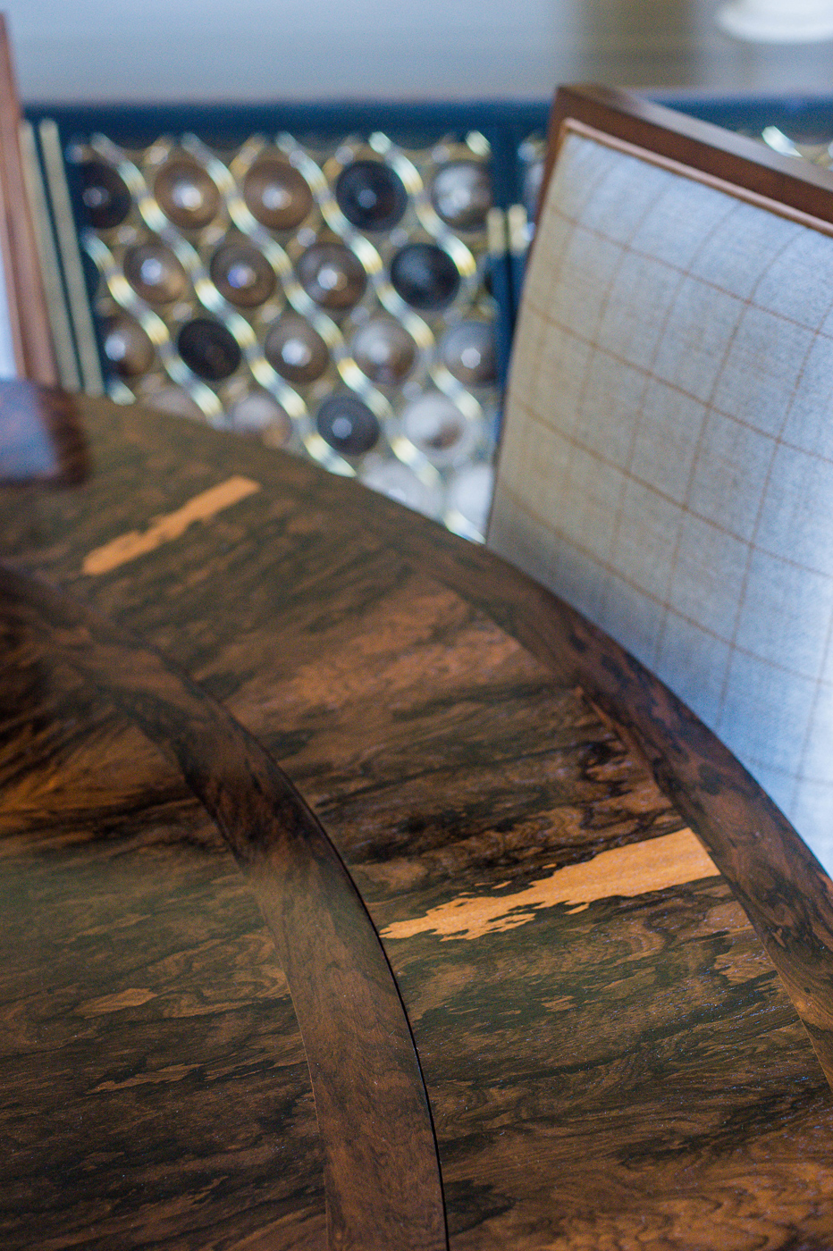 Keith Fritz dining table detail with chairs upholstered in Holland & Sherry's lush wool tartan | Savage Interior Design