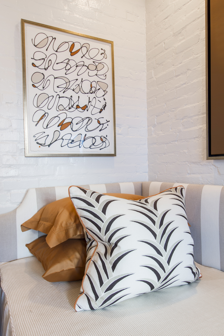 Detail of striped, patterned, and solid fabrics with artwork by Kayce Hughes   Savage Interior Design