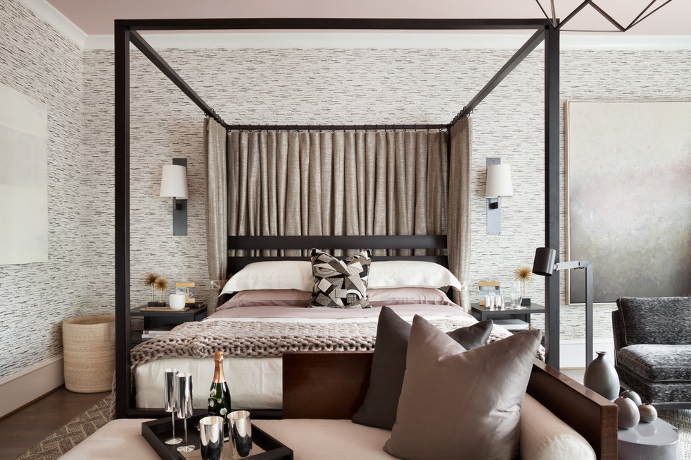 Bedroom shows contemporary Calvin Klein Home canopy bed against a Dorothy Draper wallpaper from Carleton V | Savage Interior Design