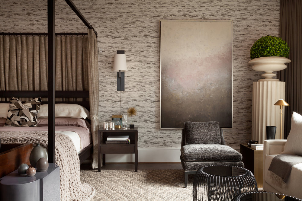 The clean lines of the Calvin Klein Home furniture and neutral color scheme adds to the cozy calm of the bedroom | Savage Interior Design