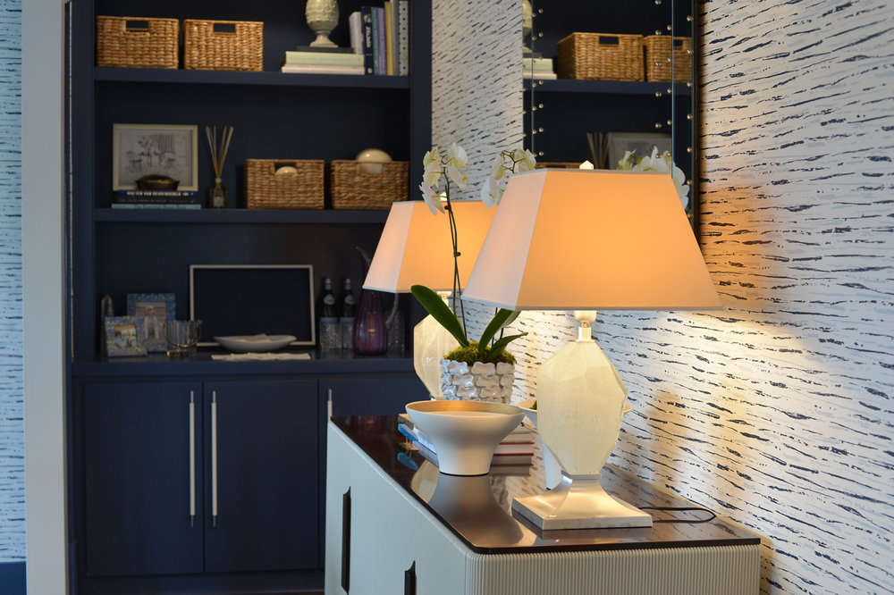 Bookcase and cabinet with accessories in a home office   Savage Interior Design