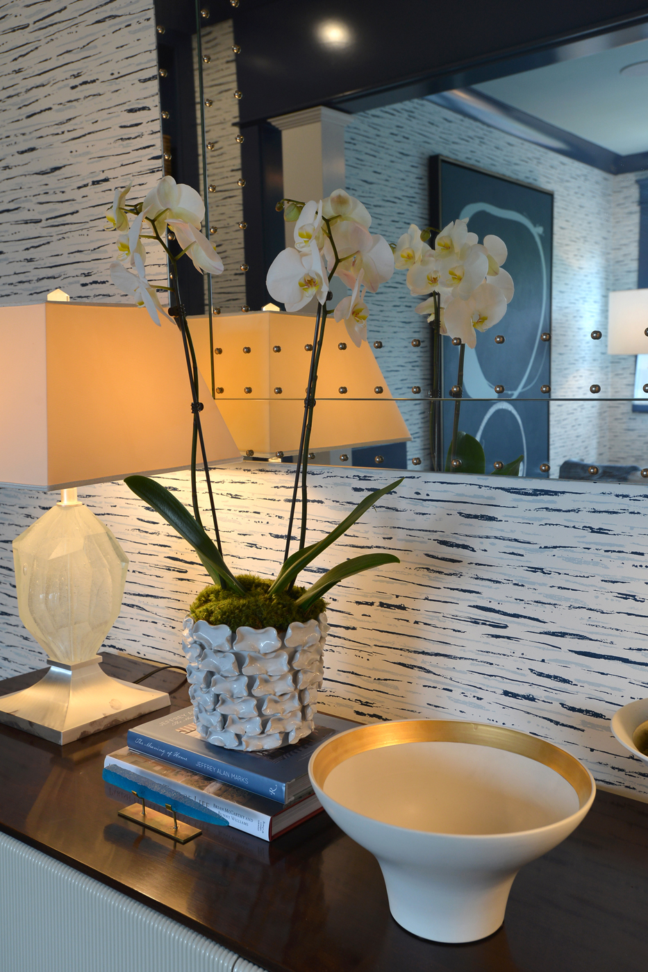 Orchid as a decorative accessory in high end interior; artwork by Kayce Hughes   Savage Interior Design
