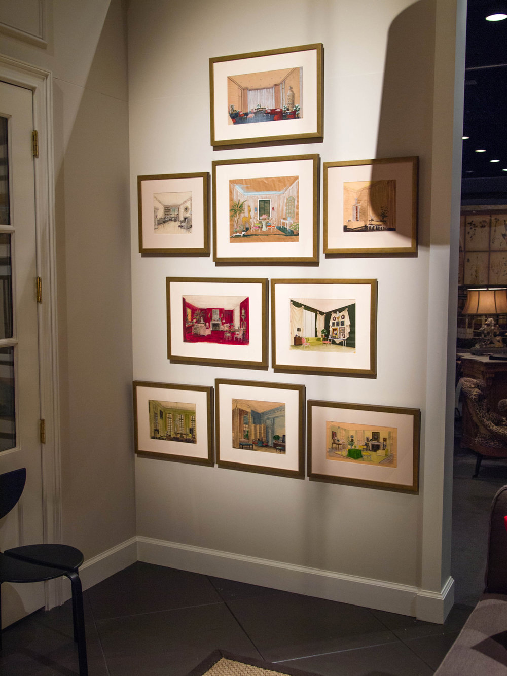Grouping of framed interiors drawings by Albert Hadley on wall of living room installation   Savage Interior Design