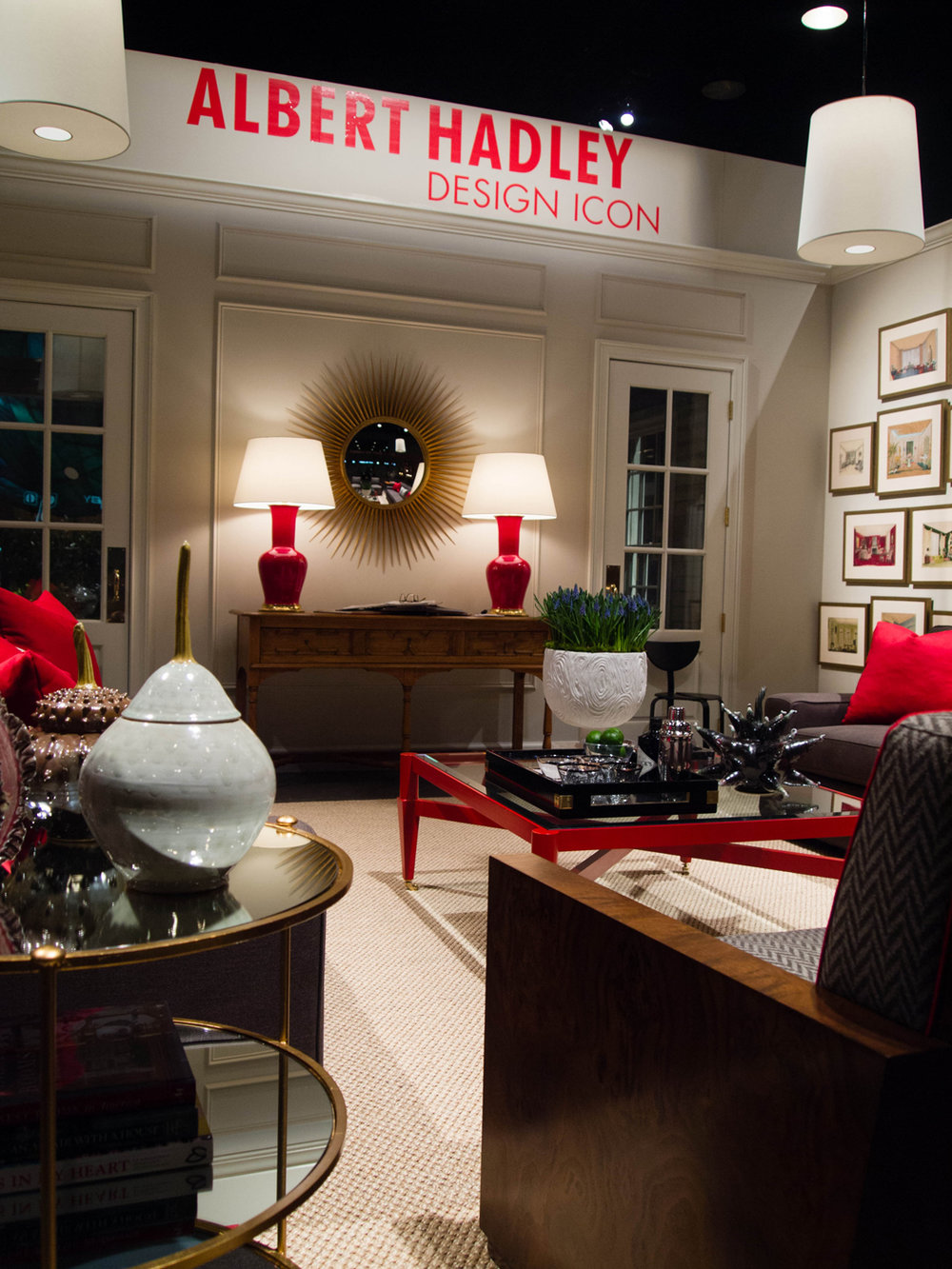 Albert Hadley designed coffee table in signature red color grouped with clean-lined upholstery   Savage Interior Design