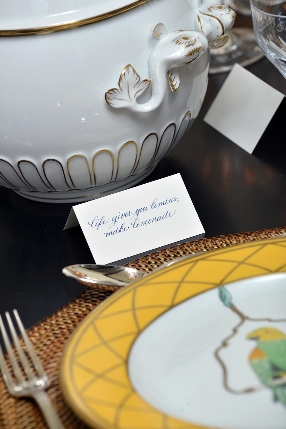 "Place card on tabletop with caption ""life gives you lemons, make lemonade"" | Savage Interior Design"