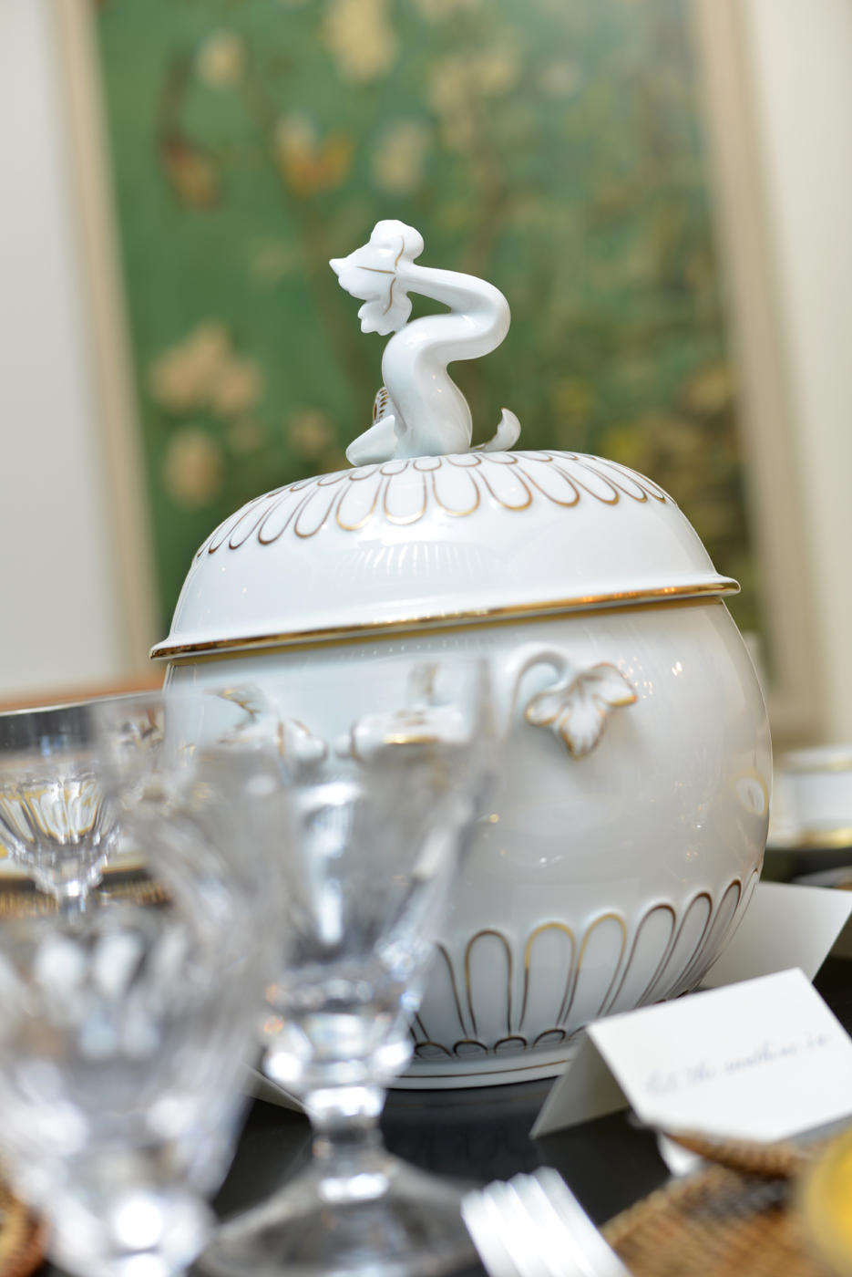 Show house dining room close up of tureen with dolphin finial | Savage Interior Design