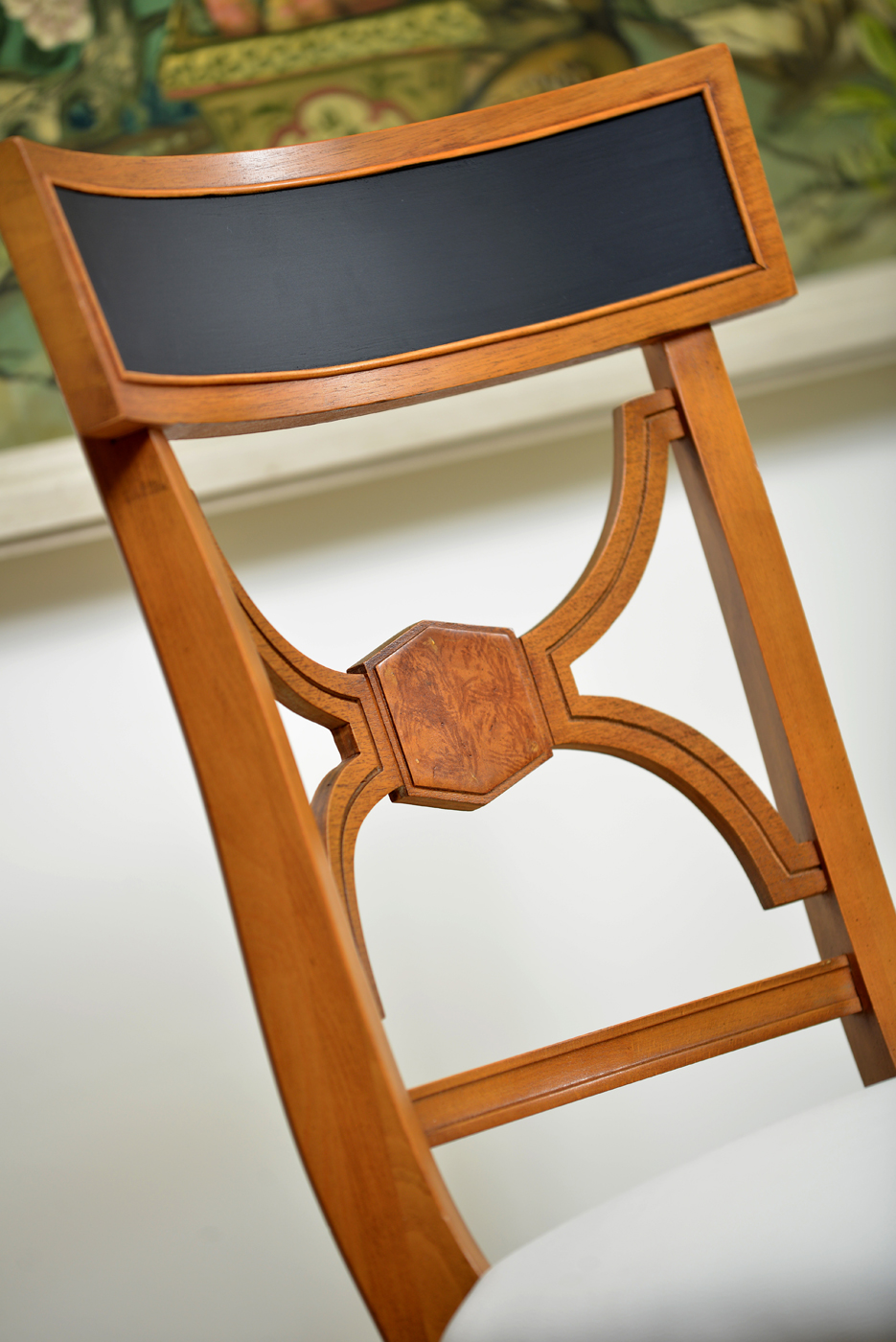 Show house dining room close up of blonde and black Biedermeier style chair | Savage Interior Design