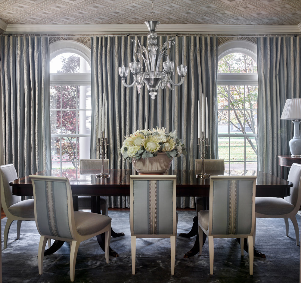 Dining room table & chairs with Murano glass chandelier and Carleton V Deco Fret wallpaper | Savage Interior Design