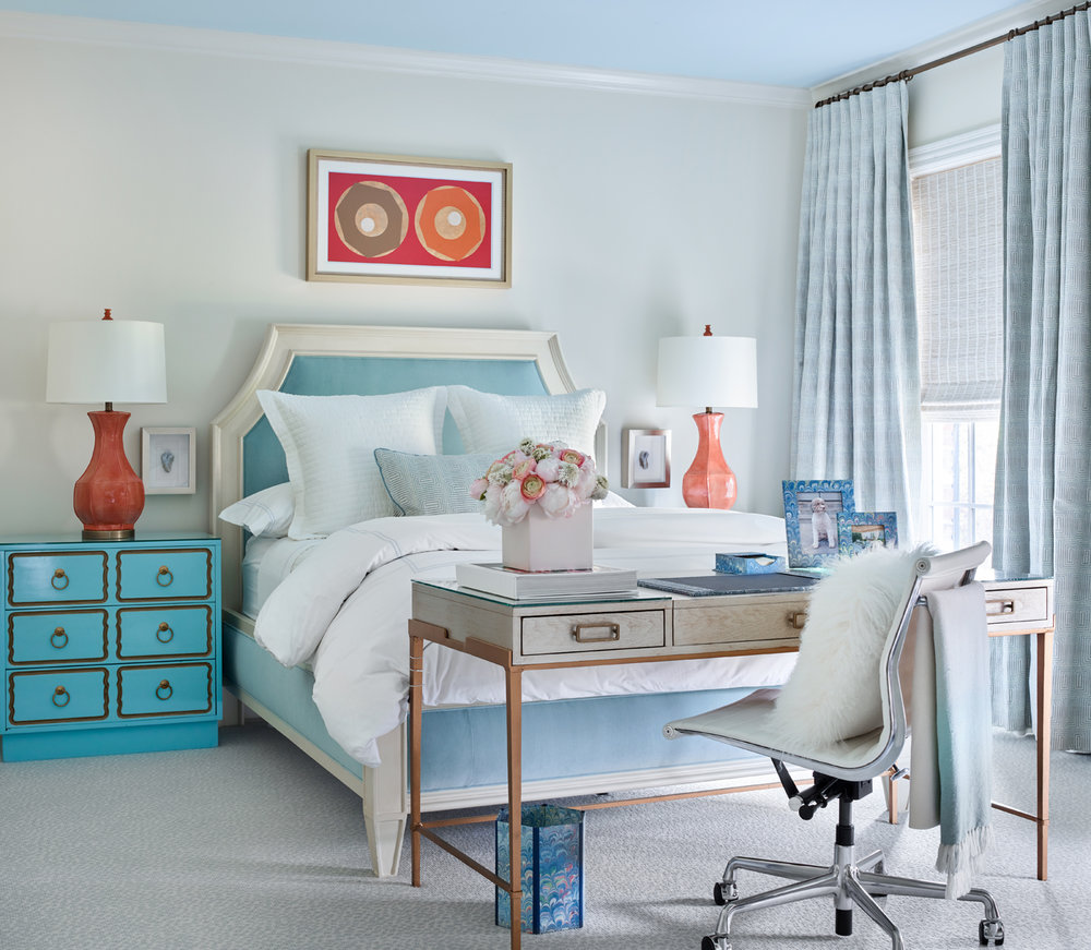 Upholstered blue and white headboard in bedroom; desk; Dorothy Draper Espana chests in blue | Savage Interior Design