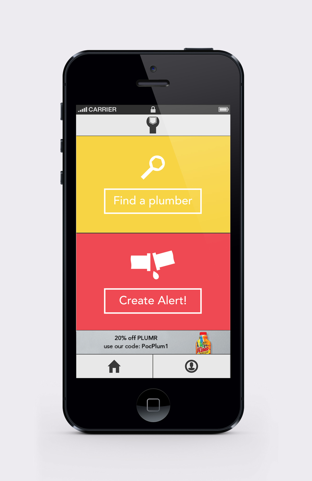 Pocket Plumber customer home screen