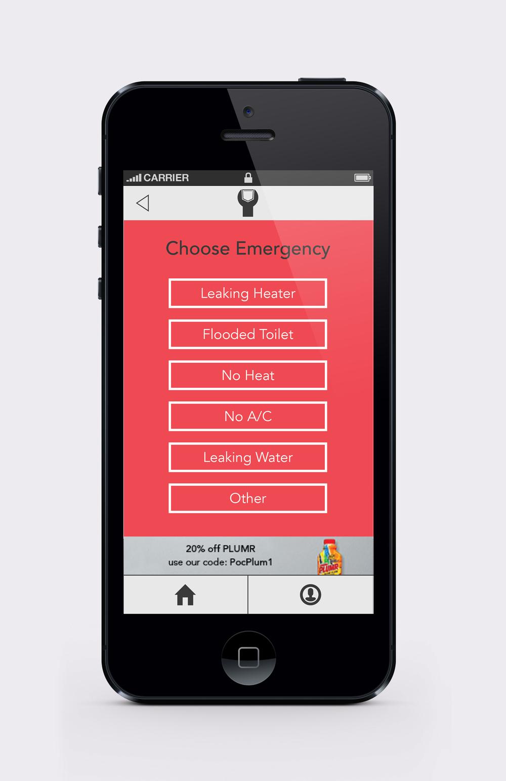 Pocket Plumber choose emergency screen