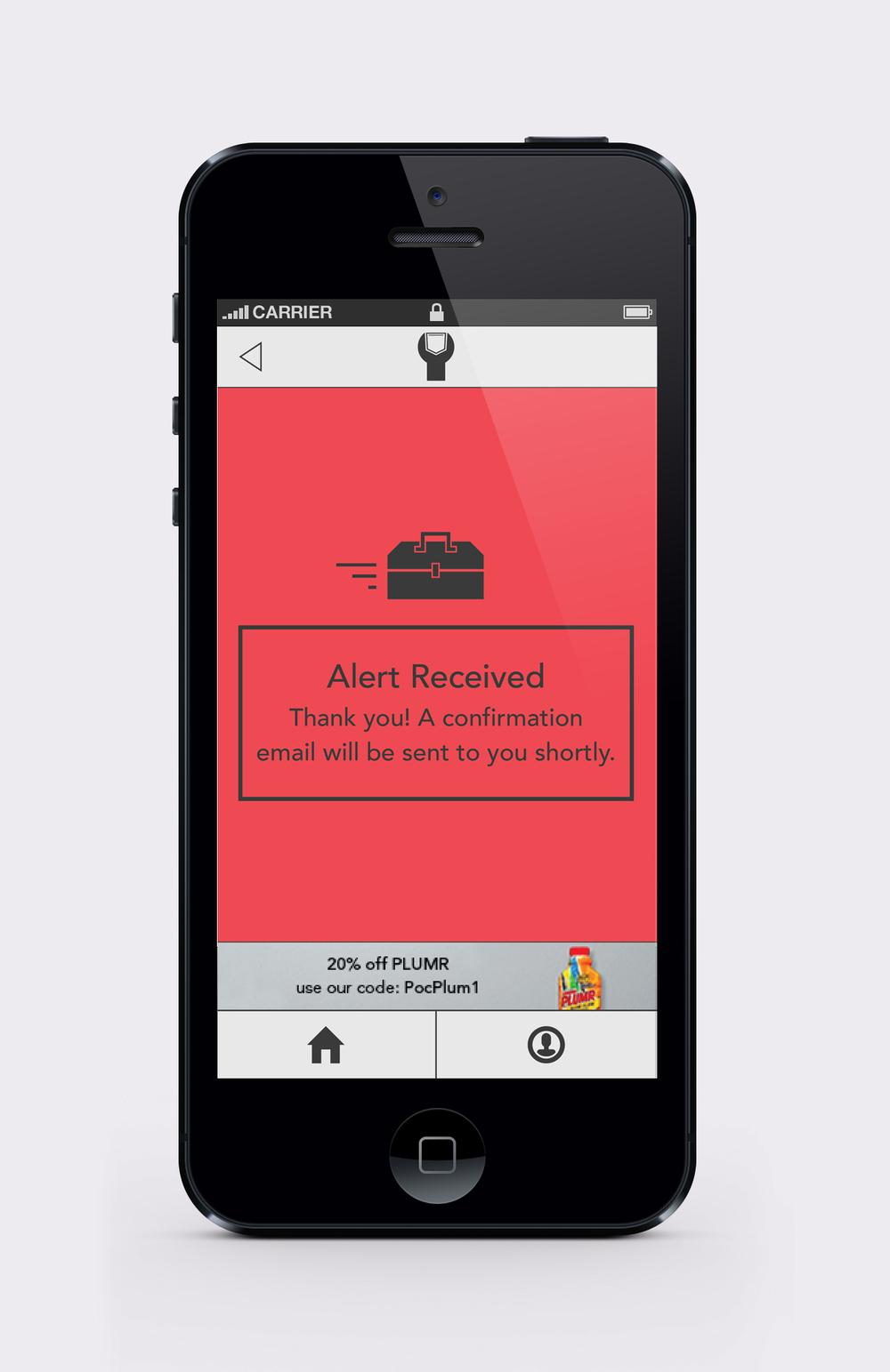 Pocket Plumber customer feedback screen