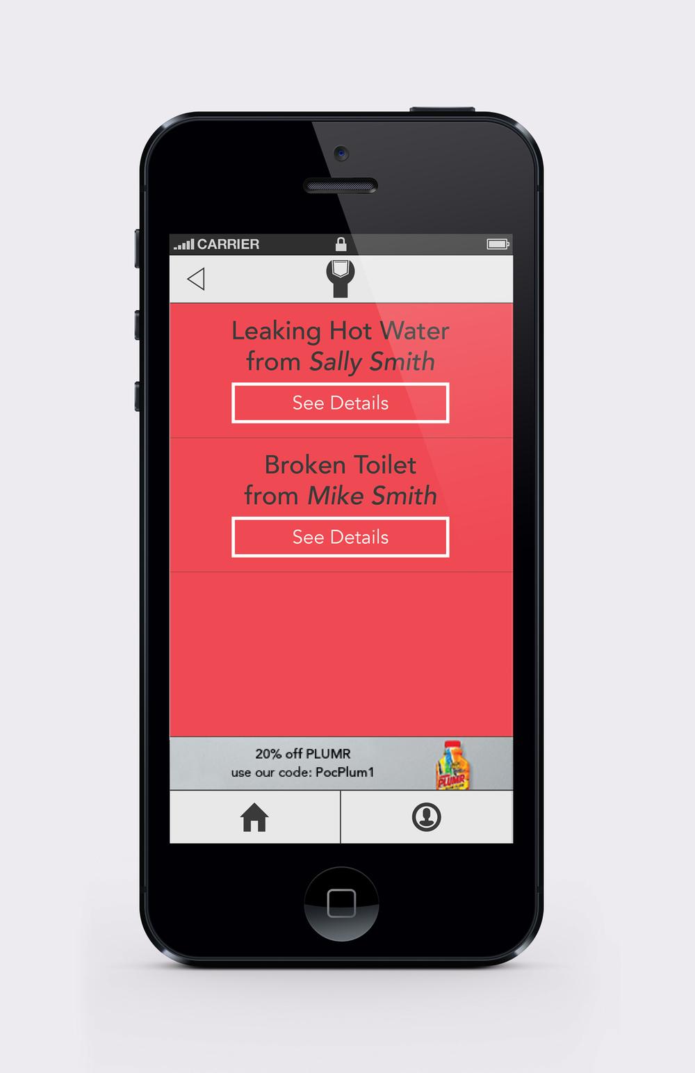 Pocket Plumber plumber alert notification screen